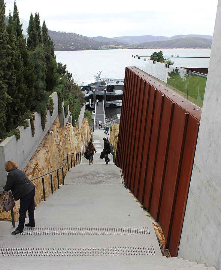 arriving at mona by boat Tasmania.....omg so many steps!...check
