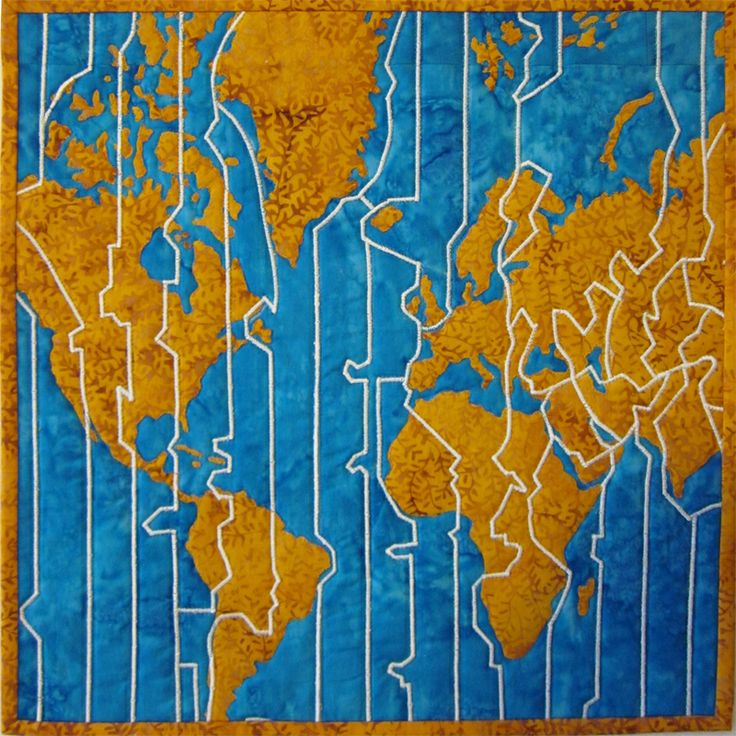 43 best map art in textile design images on pinterest map quilt time zones map art quilt by chris staver lines quilt challenge gumiabroncs Gallery