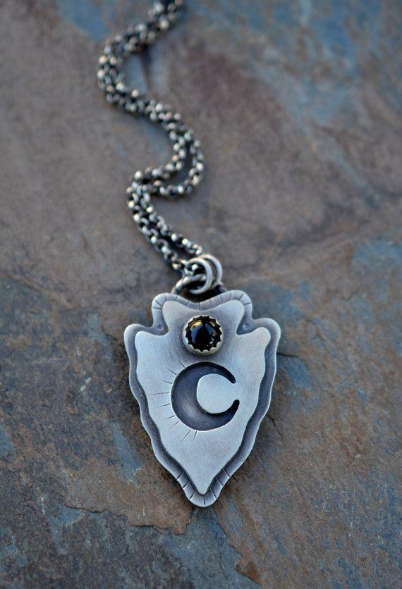 Small Arrowhead necklace. Black onyx necklace. Crescent by Arrok