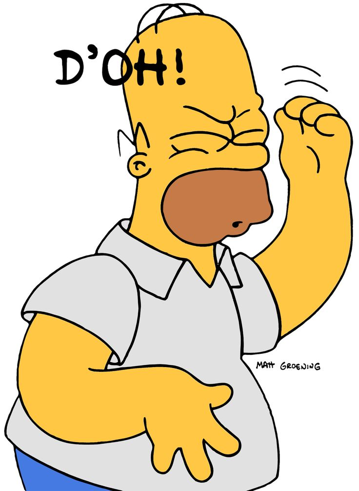 Homer Simpson. That feeling when your procrastinating and finally finish reading the chapter and realize you read the wrong chapter!!!!