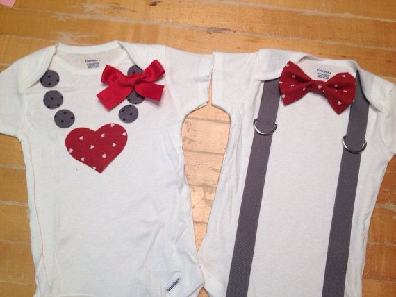Twin Valentines onesies, twin shirts, boy girl twin onesies, Valentines onesies, bowtie onesies, necklace onesie, on Etsy, $41.00