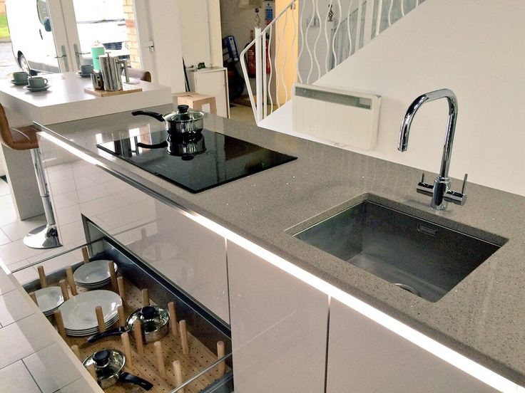 Elegant Nobilia German kitchen with Smeg induction job Blanco Sink and a Samara in