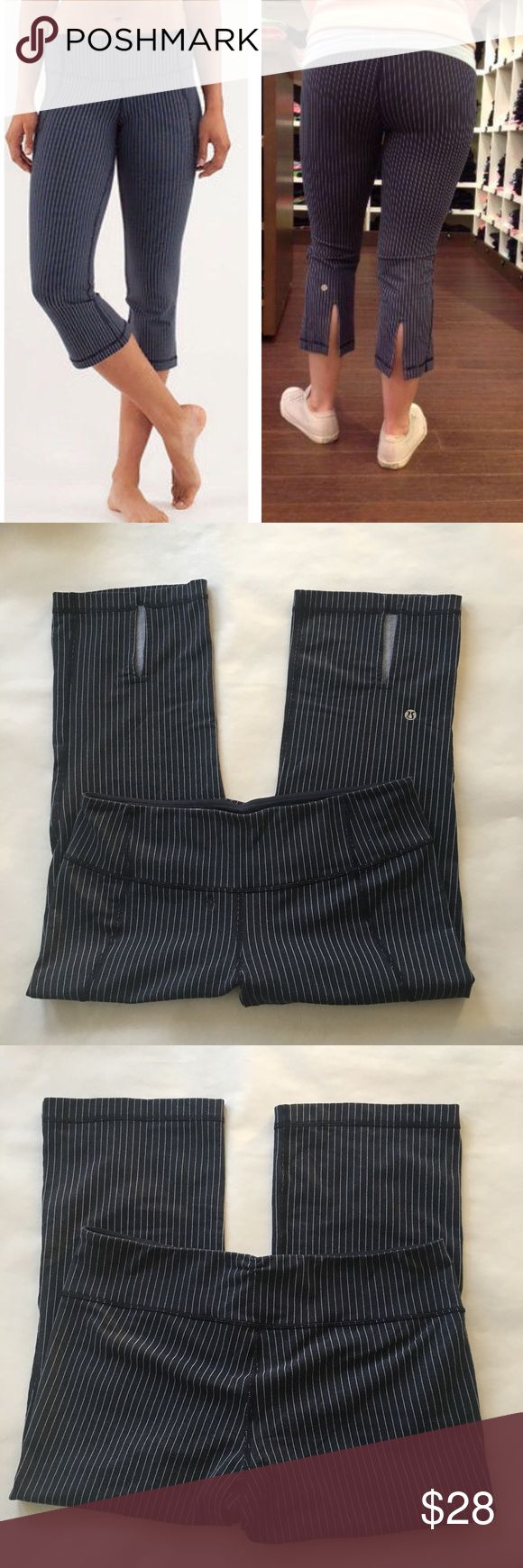 "🍋 Lululemon Gather & Crow Crop -Inkwell Pinstripe Cottony-soft Luon™ ·         Slit rear hem gives your calves range of movement ·         Hidden waistband pocket ·         fit: straight; rise: medium; inseam: 20 3/4"" ; leg opening: 15 1/8"" Worn and washed several times – no stains, tears, and very minimal pilling (can only feel it) in the gusset area but NOTE: there was a very small hole in the front of the pant that I had repaired at Lululemon (patched). It is not very noticeable; most…"