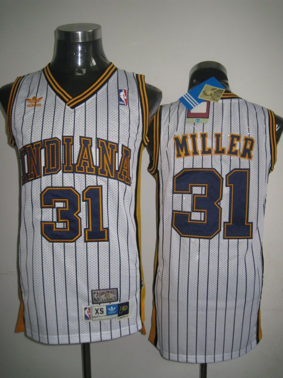 37d6d821c Mitchell and Ness Pacers  31 Reggie Miller White Stitched Throwback NBA  Jersey