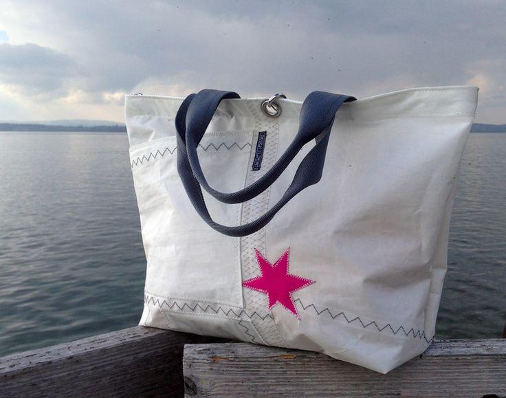 sail bag /recycled sailcloth bag/ Segeltuchtasche Segeltasche mit Sternen pink von Rough Element auf DaWanda.com