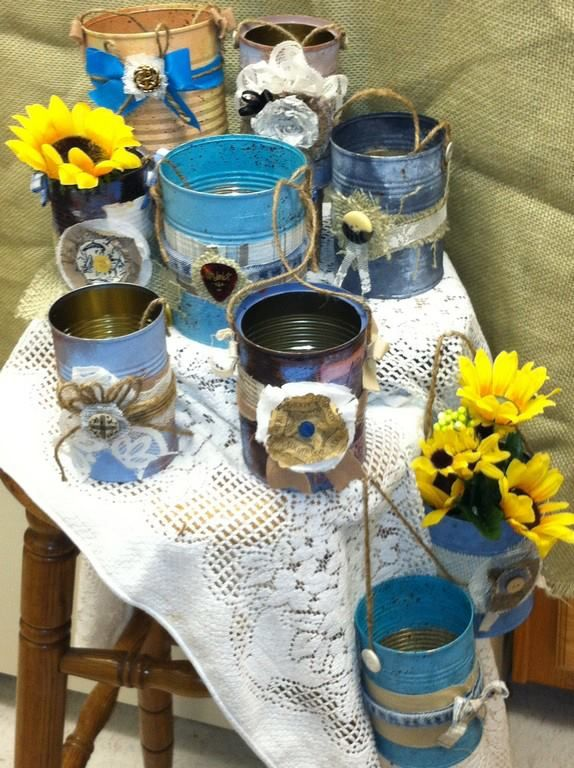 folksy-country wedding decor --painted  embellished soup cans-as flower containers