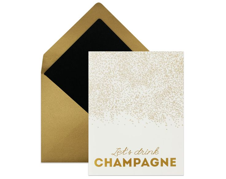 """""""Let's Drink Champagne""""   Looking for the perfect fun, festive, glam, sexy, sophisticated, stylish, professional card to send someone in various circles? whoever is the recipient, sending a top notch beautiful card with your fabulous taste is the most polite thing to do. #greetingcards"""