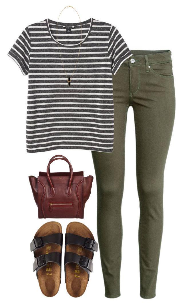 #summer #outfits / Stripes Tee + Birkenstock Sandals