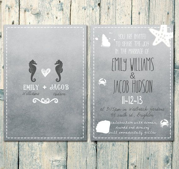 Set of 150 - Double-sided - Grey - Seahorses and Blue Sand Beach Wedding Invitation and Reply Card Set - Wedding Stationery - ID168N