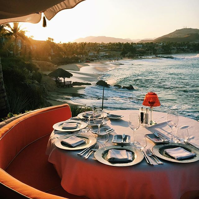 Instagram media by coolhunting - The Moonlight Table at Agua Restaurant, overlooking the Sea of Cortés where—during lower tide—guests can swim, snorkel and surf 📷@katiealiceolsen