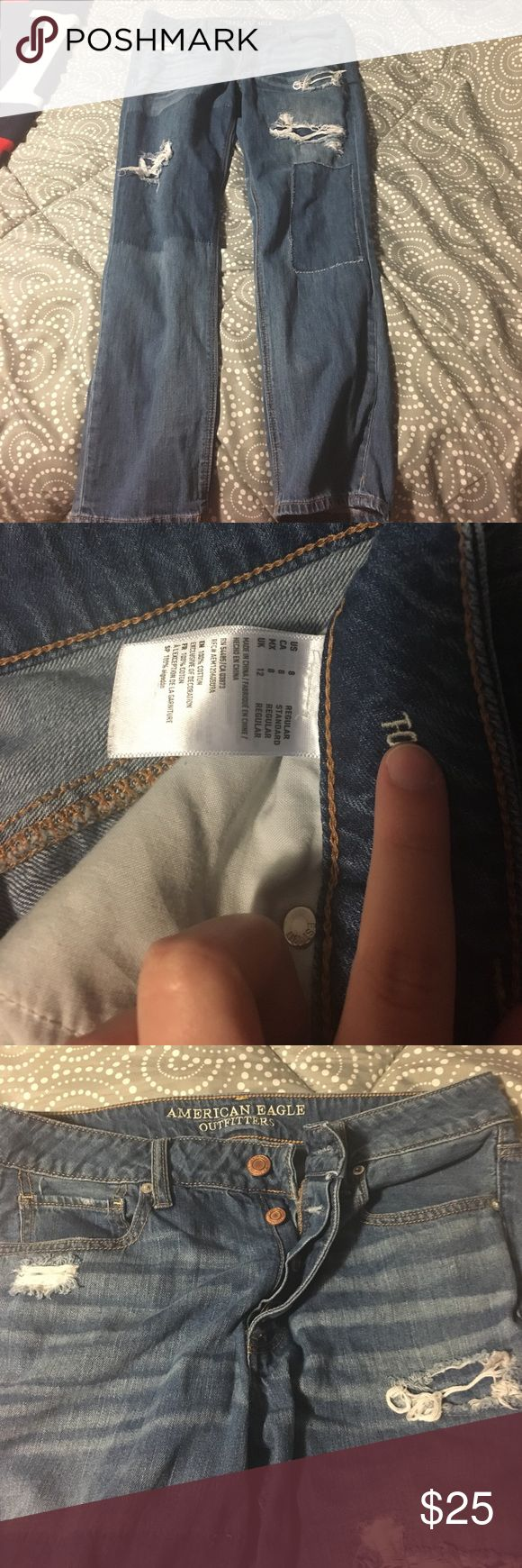 Boyfriend Jeans American Eagle boyfriend jeans only worn twice great condition and very comfy! I lost some weight so they don't fit me anymore and I'm willing to negotiate on price! Don't be shy! American Eagle Outfitters Jeans Boyfriend