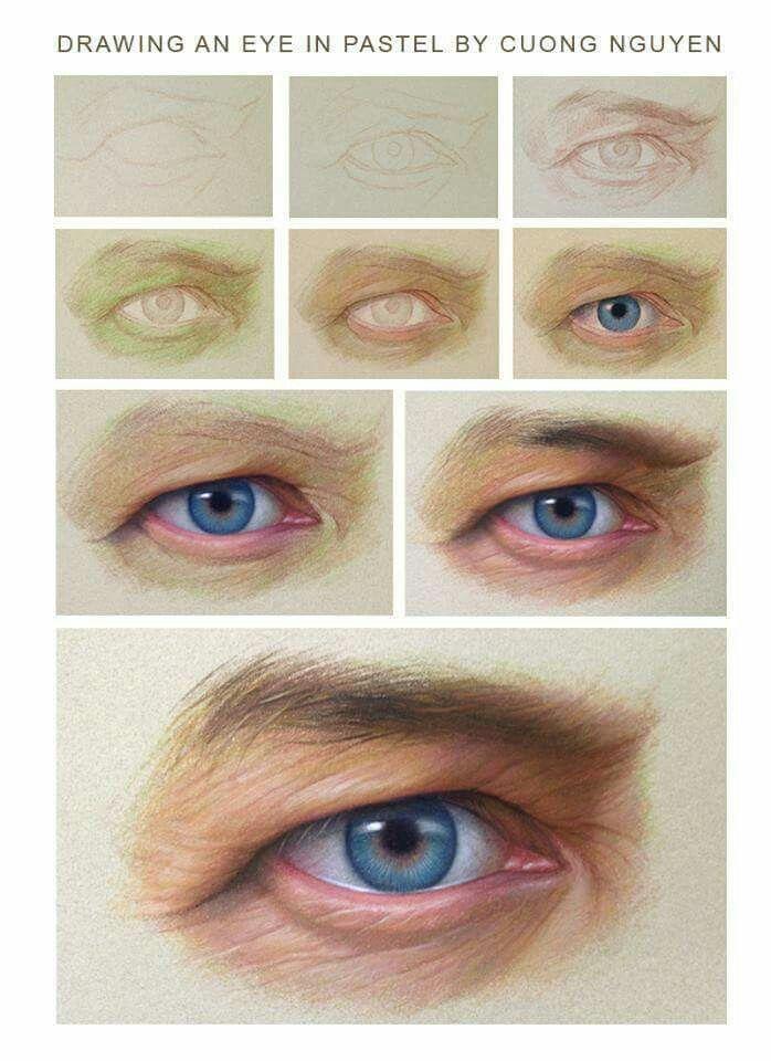 Drawing an eye in pastels