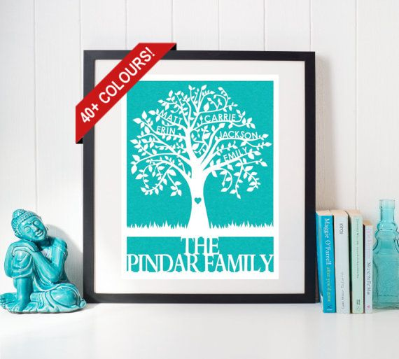 Handmade by FlyingOwlStudio on Etsy - This beautiful Family Tree Papercut is personalized with up to 6 names on the branches, with a last name or message at the bottom. It is a unique and meaningful piece of art for your own home, or a sentimental gift for a loved one. There are over 40 colours to choose from, to easily match any décor. This papercut comes unframed. The delicate cuts will look stunning in any simple frame of your choosing.