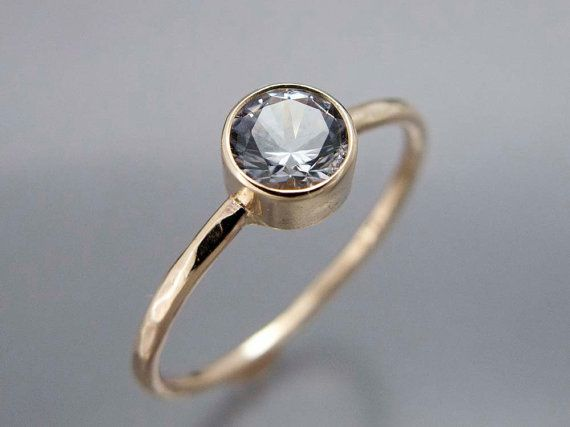 14k Gold And Moissanite Stone Engagement Ring