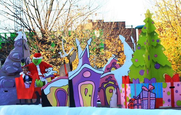 Grinch Christmas party Decorating Ideas | child and the Grinch wave to onlookers from a float in Hamilton ...