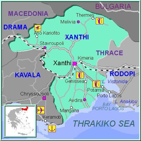 Xanthi map GREECE - Detailed map of Xanthi