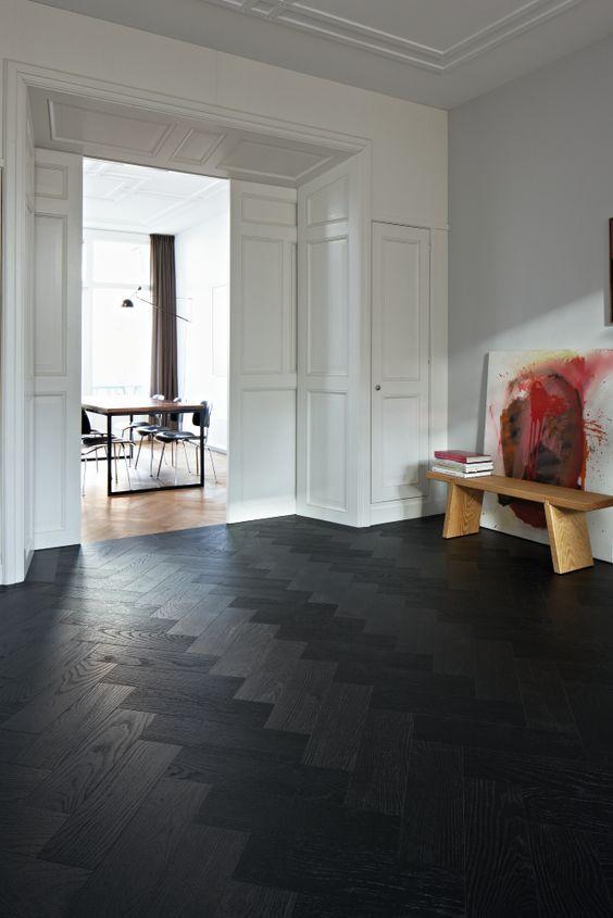 black patterned hardwood floor for an entryway