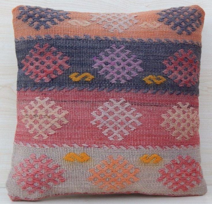 16x16 Gift Christmas Pillow,Striped Turkish Hand Made Cheap Kilim Cushion Cover #Handmade #AntiqueStyle