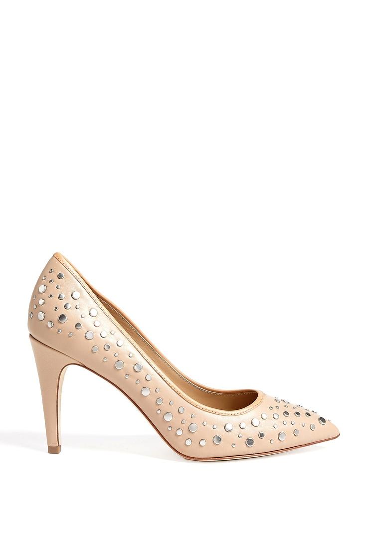 Nude Alina Mid Heel Studded Court Shoes by Diane von Fursten