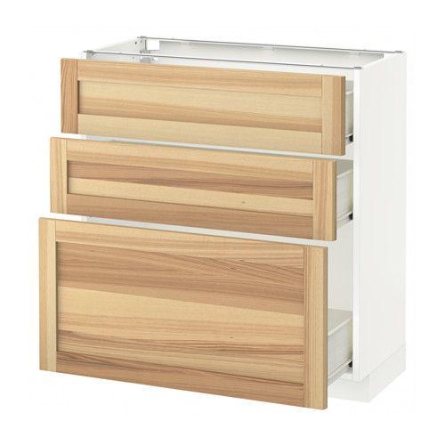 METOD / FÖRVARA Skrinka + 3 zásuvky - biela, Torhamn Prírodná jaseň, 80x37 cm - IKEA