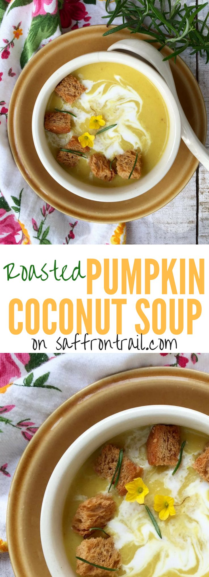 Recipe for a roasted pumpkin coconut soup flavoured with rosemary and ginger - hearty enough for dinner when paired with some bread.