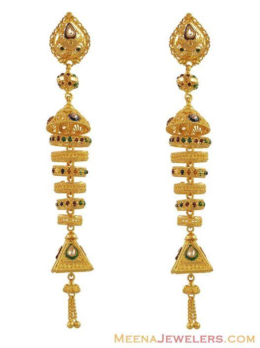 Long Chandelier Earrings 22k Jhumkas In 2018 Gold