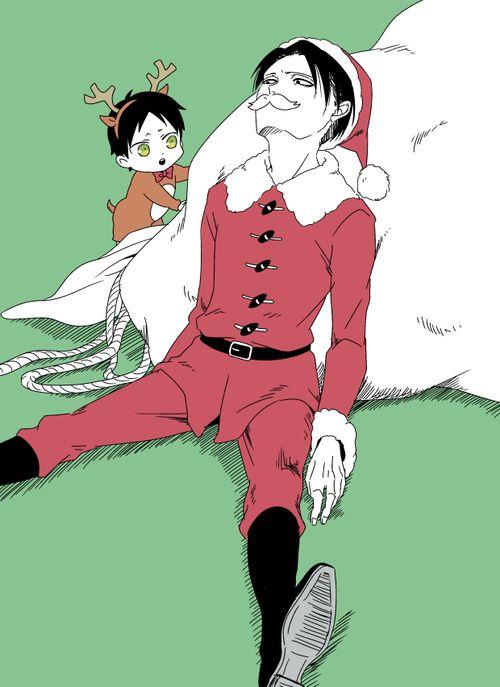 Levi x chibi!Eren ~ Santa & his lil' reindeer