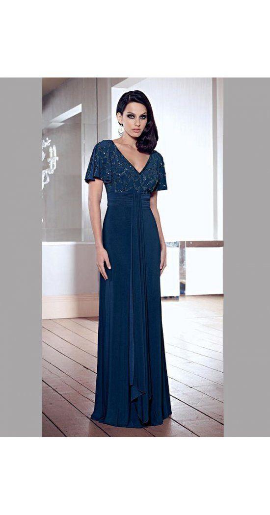 A-Linie aus Chiffon V-Ausschnitt  Kurz Ärmel mit Bodenlang Reißverschluss Abendkleider 2016
