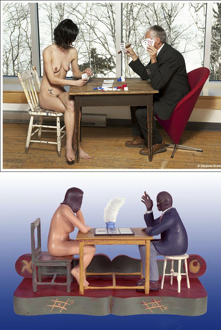 """En haut: Lydia et Artien Quinze, photographie de Jacques Gratton. En bas: """" OXO"""", sculpture sur bois de l'artiste  Artien Quinze."""