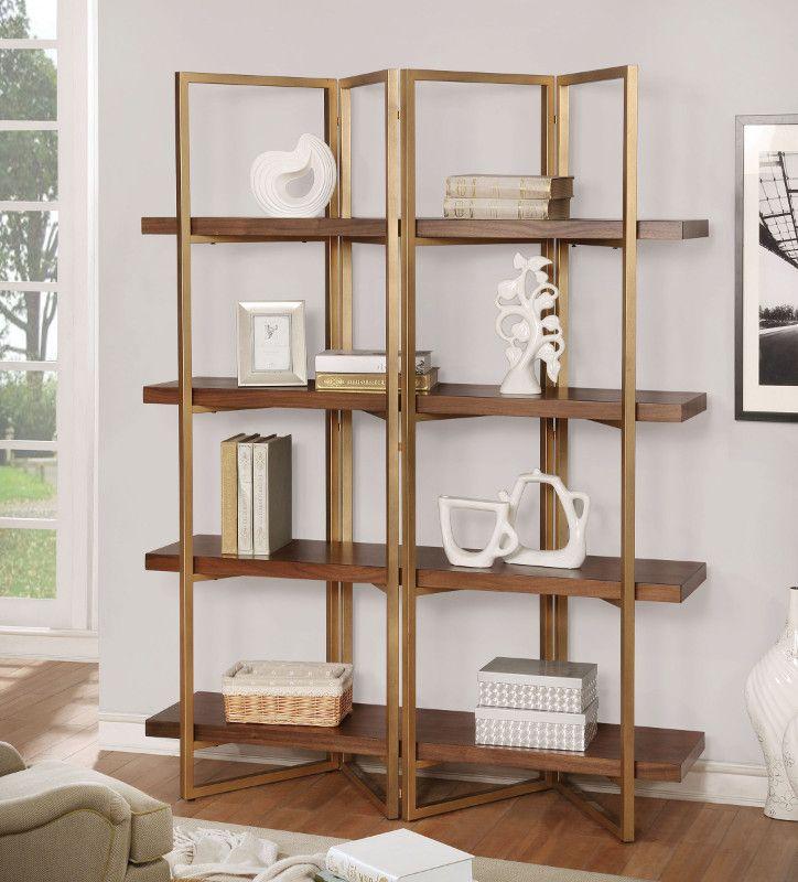 Cm Ac6048 Johan 5 Tier Light Walnut Finish Wood Shelves With Gold Accents Bookcase Shelf Furniture Of America Bookshelves Bookcase