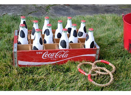 Western party activity ideas (adorable! love the cow-spot bottles!!)