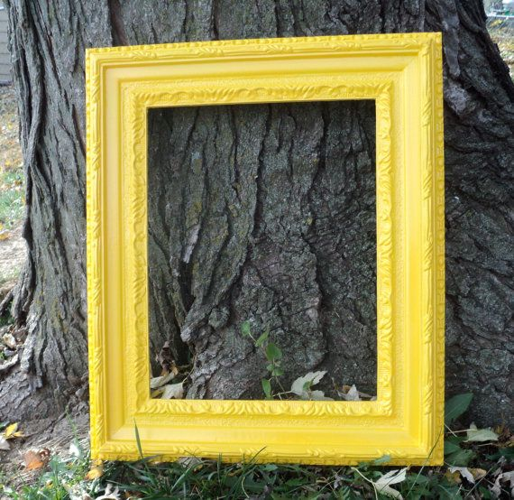 large sunny yellow picture frame vintage photo by melissap6908 3000 - Yellow Picture Frames