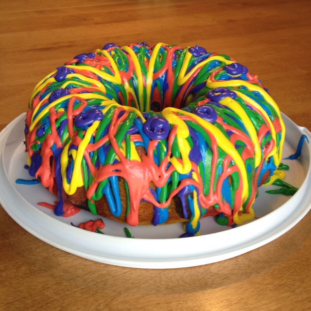 Painting A Bundt Cake With Food Coloring