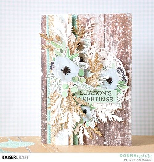 """Season's Greetings"" Card by Donna Espiritu DT member for Kaisercraft Official Blog. Featuring October 2017 New Decorative Die - DD457 - Mini Fir Sprigs 