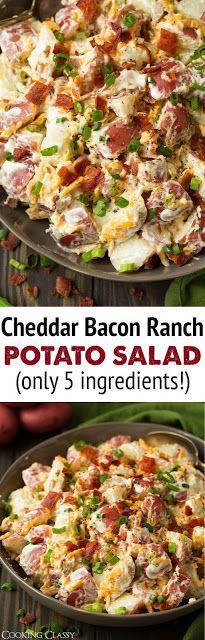 Cheddar Bacon Ranch Potato Salad - Food And Cake Recipes