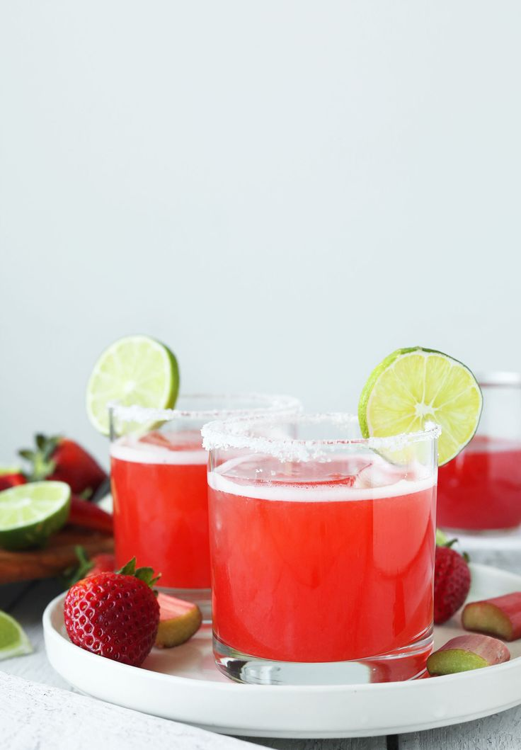 6-ingredient Strawberry Rhubarb Margaritas! Sweet, tart, and perfect for spring! from @minimalistbaker