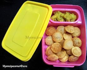 Mye's Kitchen: Mini Poori/ Coin Puri- Kids Lunch box recipes Indian