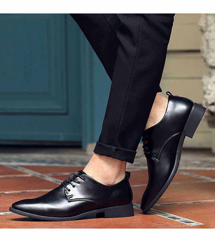 Men's #black leather derby #DressShoes, Point toe, work, office, business occasions