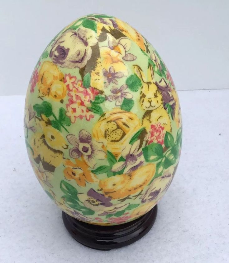 """Formalities by Baum Bros Brothers Porcelain Egg Floral yellow Easter bunny 8""""  