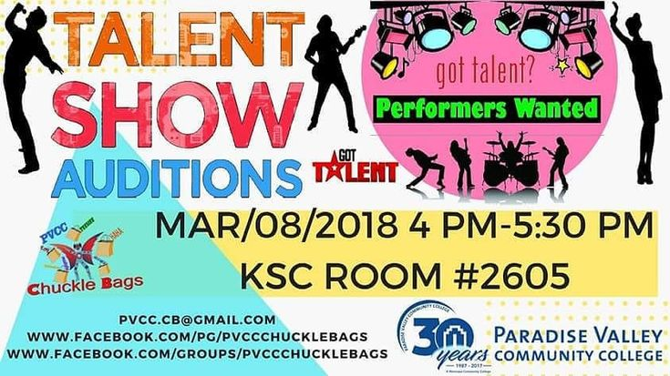 If you want to try out for PVCC Improv and Variety/Talent Show or put up artwork at it please come to the meeting. Meeting will be Thursday March 1st 4 PM-5:30 PM at Paradise Valley Community College KSC ROOM #2605. We will be holding tryouts at the meeting. If you can't make it or have questions email pvcc.cb@gmail.com Show us what you got! IMPROV & VARIETY SHOW TRYOUTS!  LOOKING FOR ALL TYPES OF FAMILY FRIENDLY TALENTS! SINGING DANCING IMPROV COMEDY MAGIC MUSIC MARTIAL ARTS PUPPETRY…