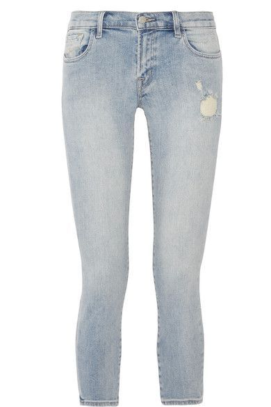 J Brand - Cropped Distressed Low-rise Skinny Jeans - Light denim - 23
