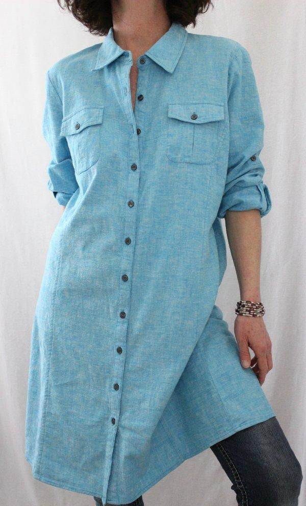 Dialogue Linen Blend L Sleeve Button Down Chambray Dress Tunic Aqua Sz M #Dialogue #Tunic