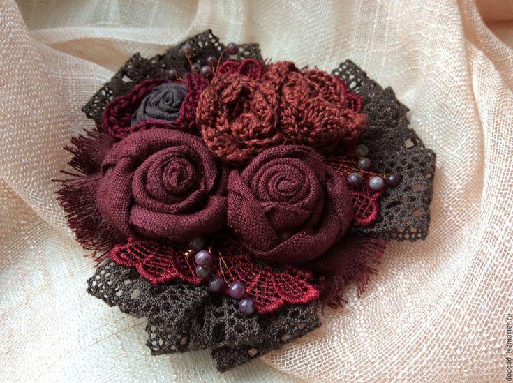 Купить Брошь Вишня в шоколаде - коричневый, брошка, брошь, брошь из ткани, брошь текстильная, жемчуг