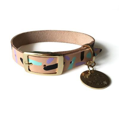 Tiggy Aqua Violet Leather Collar