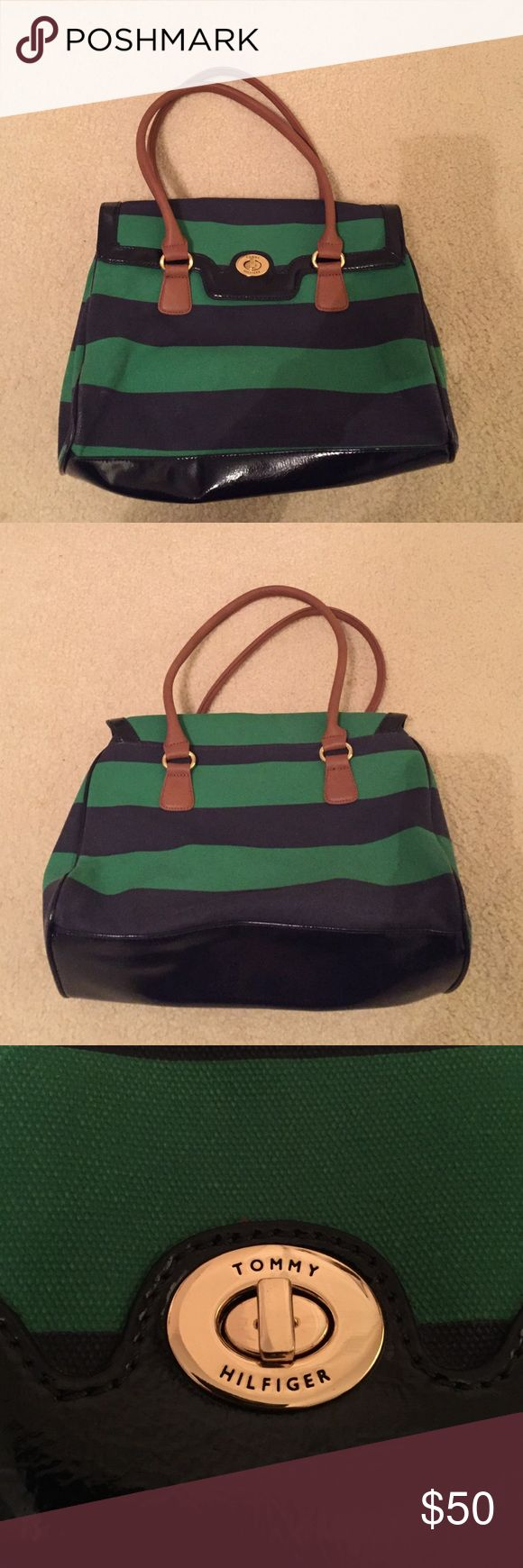Real Tommy Hilfiger Green & Navy Purse Real Tommy Hilfiger Green & Navy Purse in great condition, barely ever used. Tommy Hilfiger Bags Totes