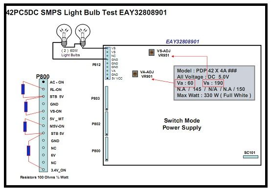 lg plasma tv power supply test with light bulbs | parts and