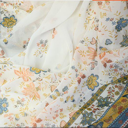100*150cm 75d bilateral cloth butterfly print chiffon silk satin skirt cos cloth costume hanfu clothes fabric meters
