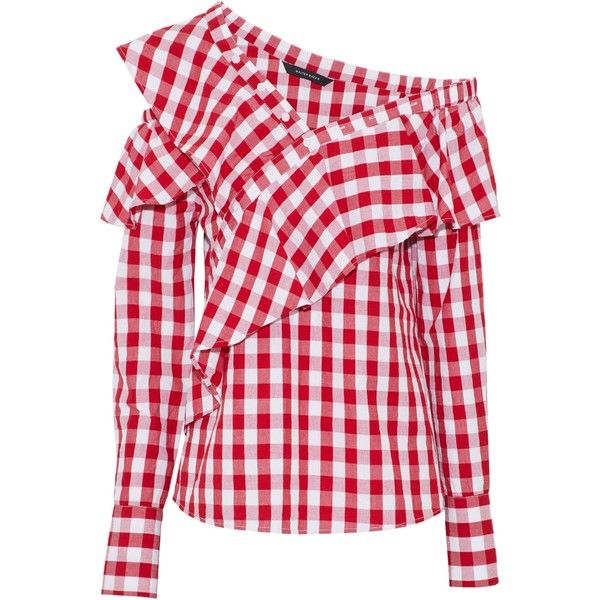 W118 By Walter Baker One-shoulder ruffled gingham cotton-poplin blouse (1.474.535 IDR) ❤ liked on Polyvore featuring tops, blouses, red, red gingham blouse, red top, flutter blouse, red one shoulder top and ruffle blouse