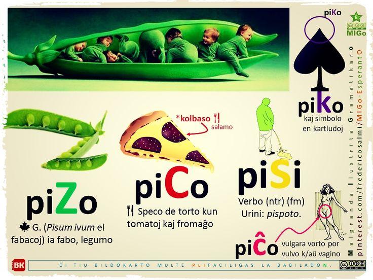 Similaj vortoj (versio 3): pizo, pico, piĉo, pisi. #migo #esperanto #gramatiko #vortaro #pizo #piĉo #pico #pisi #piko #pika #kulo #dolori