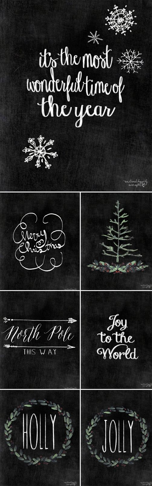 The other day I shared some pretty Free Chalkboard Christmas Printables (HERE) & today I have 7 MORE for you! They all have hand drawn elements in them, and come in high resolution (300 dpi) & are siz